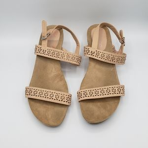 Me too pink brown open toe sandal wedges shoes